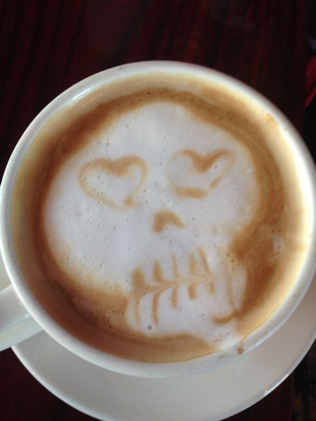 They put little skeleton faces in the drinks at the Freemont Coffee Company.