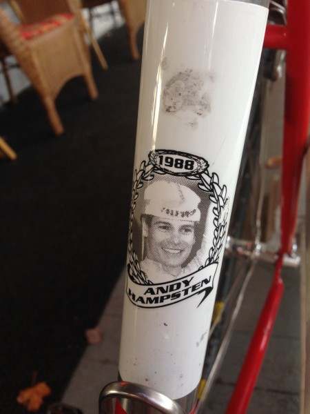 I saw this Hampsten bike at the coffeshop yesterday.  I was hoping to get by Hampsten Cycles and visit Steve, Andy's brother, but guess next trip.