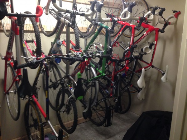 Still hanging more bikes in the storage locker.