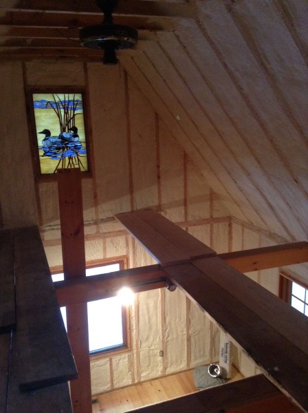 """Dennis and Trudi have a project going too.  Dennis got foam insulation sprayed throughout his """"old cabin"""" and now they have to put back up v-groove."""