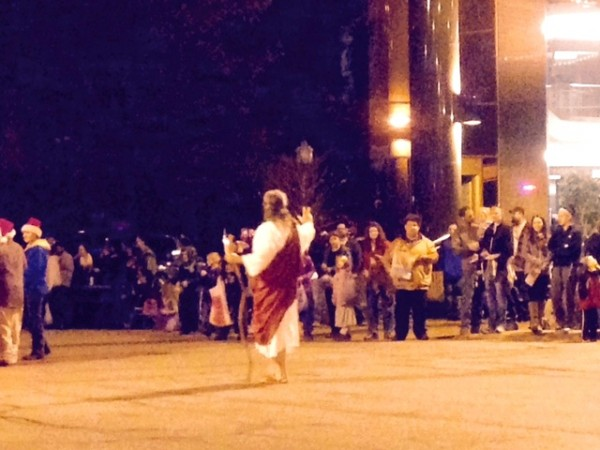 I never really seen a guy walking in a parade portraying Jesus.  Barefoot and all.  I liked it.