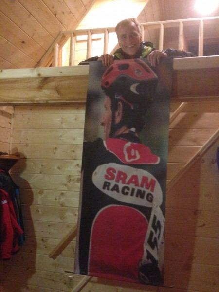 I guess Sram is moving offices and they had this sitting around and gave it to Pete Caron to bring up to us.  That is me a while ago.