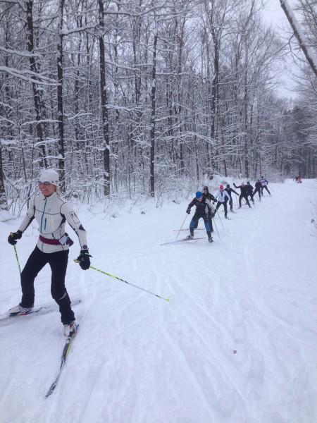 I like the look of guys skiing in line.
