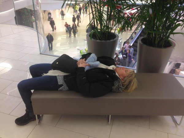 Catherine was a bit under the weather the whole day and this was her whole mall experience pretty much.