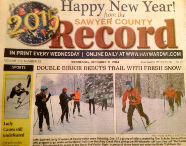 The long ski made the front of the local paper yesterday.  Bill and I happened to be standing there.   I wonder if we're going to get some photo bonuses for the exposure?