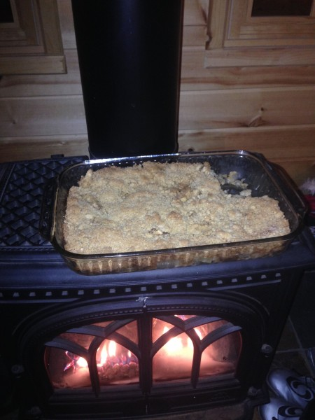 Stacie made apple crisp for after the hike.