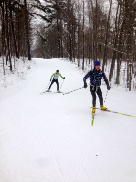 Karl and BIll skiing up to the high point on the Birkie trail yesterday.
