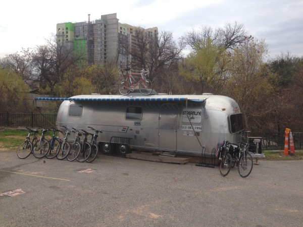 Brian Robbins Airstream Bike shop down by the river in downtown Austin.