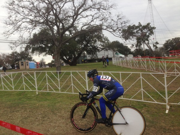 Paul Curley on his way, riding his signature disc wheel.