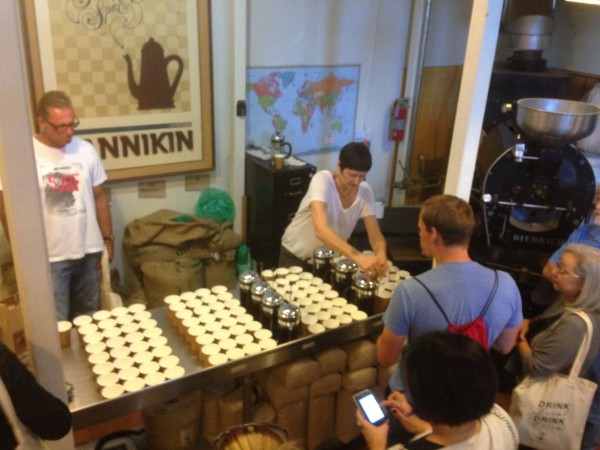 They were doing a coffee tasting in the basement of the Pannikin yesterday.