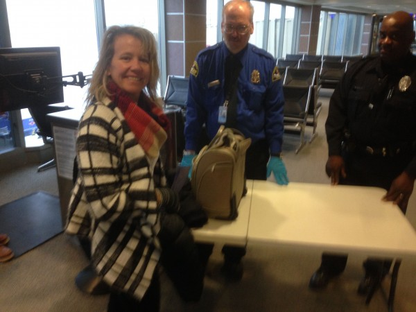 Catherine got random searched at TSA.  She seems pretty okay with it.