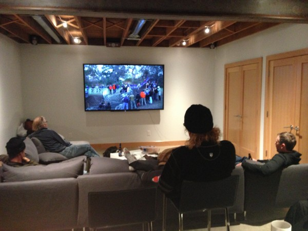 We rode 35 miles over to Lawrence to watch the race on a big screen at Matt Gilhausen's house.