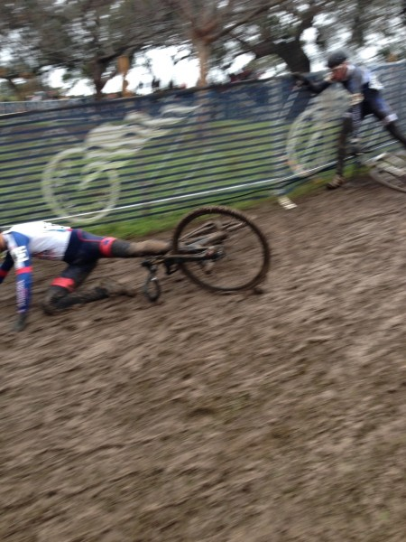 This is a photo from the Collegiate races on Saturday.  The course was getting very technical.