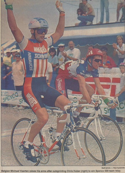 Michael Vaarten winning the Spenco 500.  Michael rode the first lap, then went back to the hotel and ate, slept all night, then came back and rode the last lap.  He was World Kerin Champion and was pretty much a ringer to win the sprint, even though Chris Huber gave him a good run for his money.