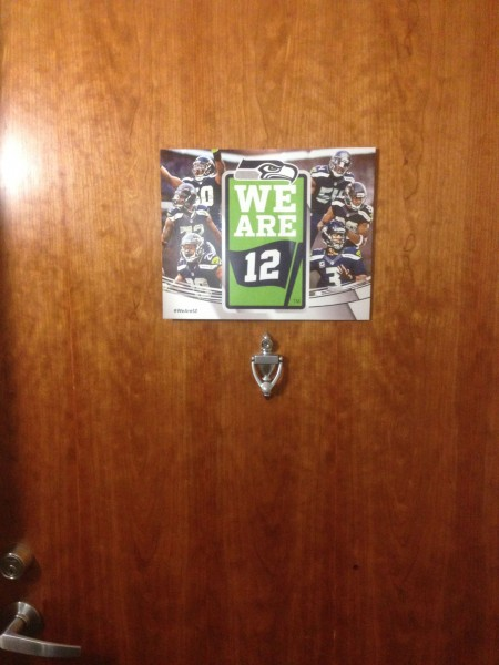 Even the Walberg's door flies the 12th man logo.