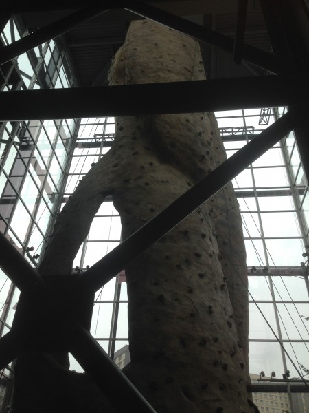 It had the biggest climbing wall I've ever seen.