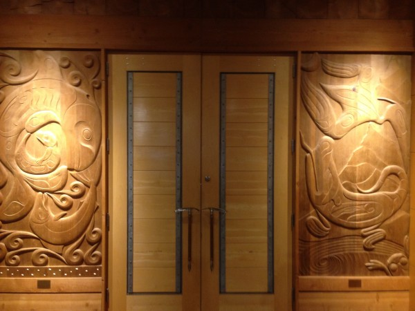 Doors to a meeting room in REI.