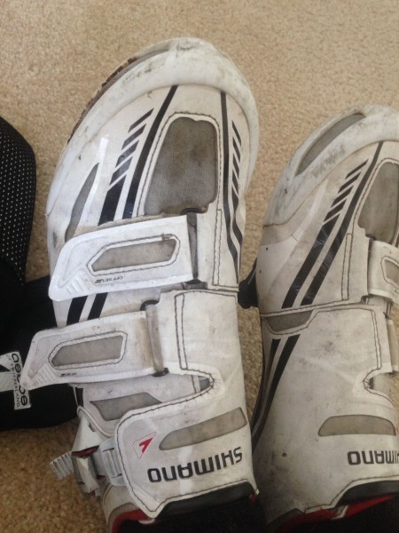 You'd go through a lot of cycling shoes too riding all the time in the wet.