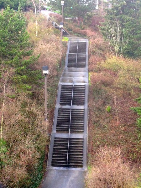 Yesterday I rode down this stairs, well not on the stairs, but on the little edge beside the stairs.  I saw this from the I-90 bridge and thought it looked fun.  I didn't anticipate how wet it was.  Plus, it was steeper than it looked.  I got a little crossed up towards the bottom and thought to myself it would have been a real disaster if I would have fallen.  LIttle steep and slick for a road bike.