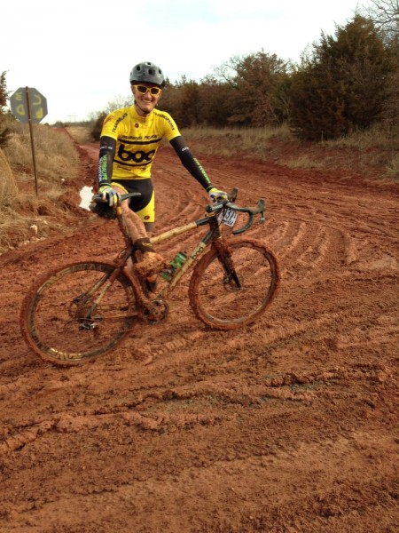 This is Nick Frey, founder of Boo Cycles, all clogged up.  He came a long way from Colorado to be bogged down in this red muck.  I know, by personal experience, how ugly Oklahoma mud can be.