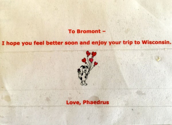 Bromont received a box of treats from Three Dog Bakery and this super nice note.