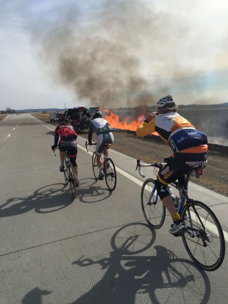 Burning the ditches while riding to the race.