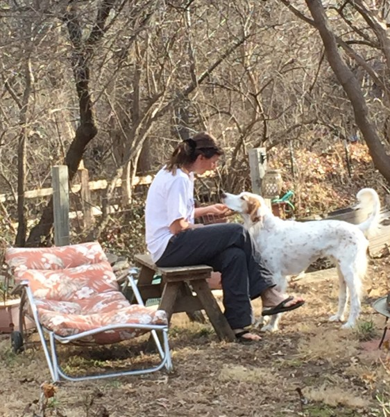 Trudi and Bromont in the backyard having a little moment.