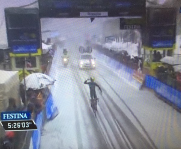 Nairo Quintana (Movistar), winning in the snow today.