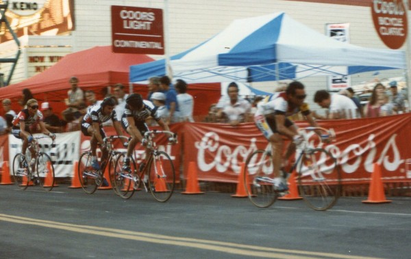 This is a picture of the Reno Criterium, probably 6-8 laps in.  Hinault had pulled the whole time, close to 30 mph.  I'm looking back, with Roy on my wheel.  It was pretty fun.