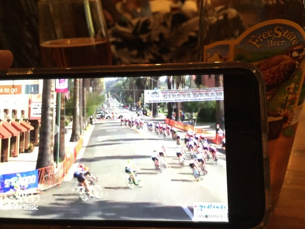 I was watching the Redland's criterium on my iPhone before dinner last night at Freestate Brewery in Lawrence.