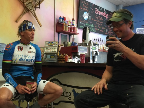 Pete Taylor and me having a coffee in his shop.