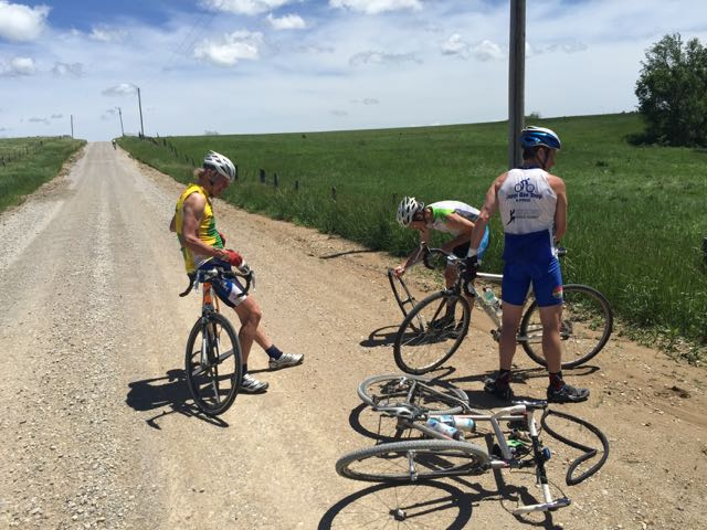 We flatted a ton yesterday.  Eric flatted 3 times, me too.  I hate stopping for flats on a hot day.