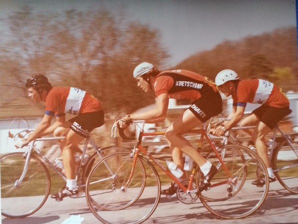 A woman, from way back in the day, Janet Friedrich, brought me this picture to the race to sign.  It is of the Tour of Kansas City, probably form 1979.  In front of me is Jeff Pierce, stage winner of the Tour de France in 1987.