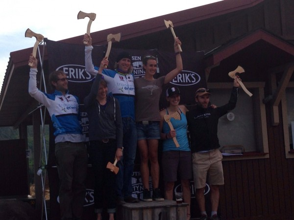 The podium of the overall men's and women's winners.