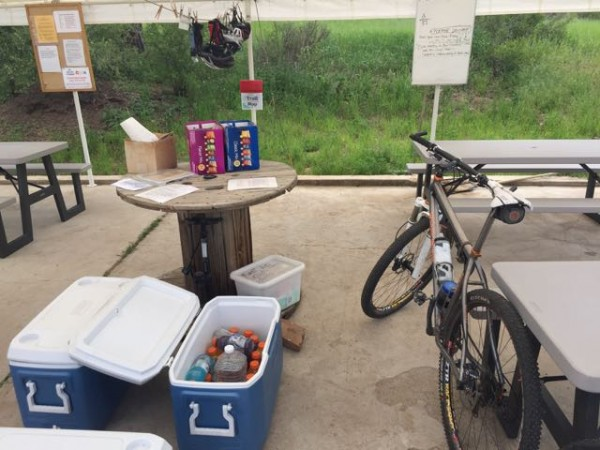 They had this aid station set up at Buffalo Creek.  We put $5 into the can for a couple waters.