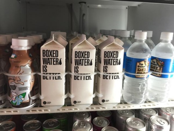 There were selling water in a box, like boxed like milk, in Idaho Springs.