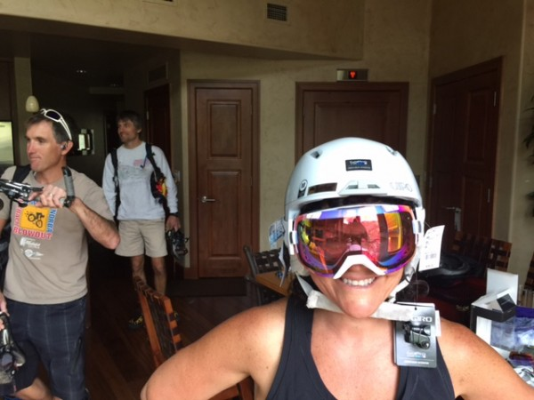 Here is Stacie with her new Giro ski helmet and goggles.  Both 1/2 price in the summer.