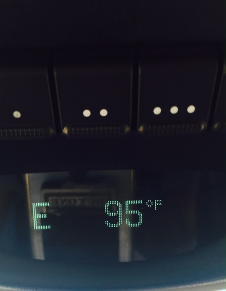 This was the temperature driving back and the AC in the van didn't work.  Just another thing to fix.  It worked on the way to Colorado, not sure what the deal is now.  I sweated through lots of clothing.