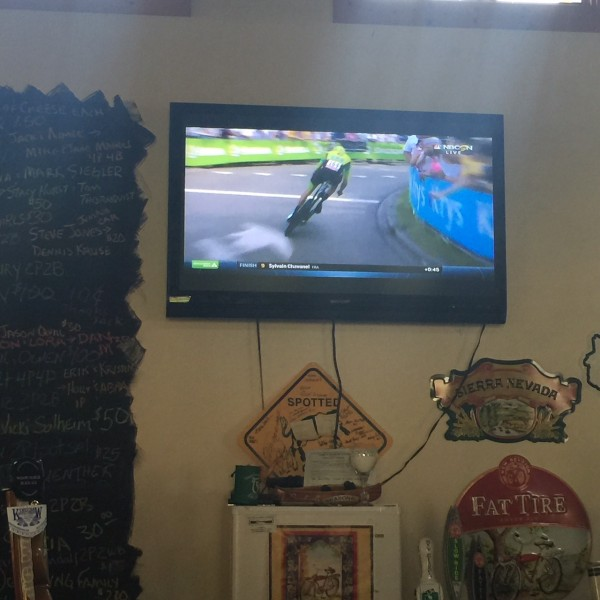 Watching the Tour at the Rivers Eatery.