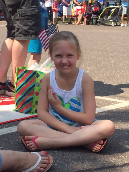 This little girl was great.  This is during the Star Spangle Banner before the parade.