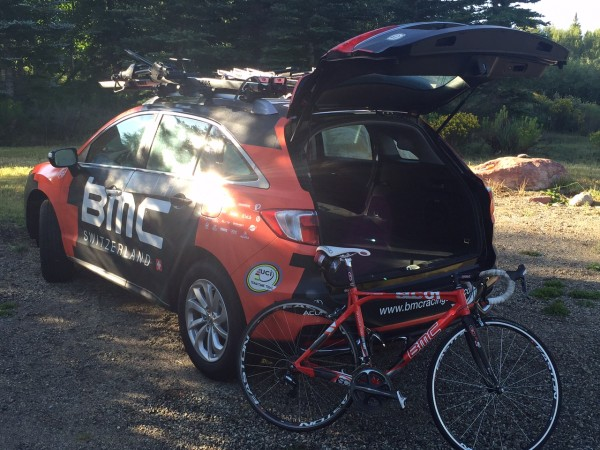 BMC got new Acura team cars this year.  I brought Trudi her bike so she could ride some today.