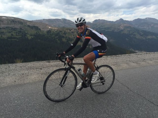 Sue climbing up Loveland Pass a couple days ago.