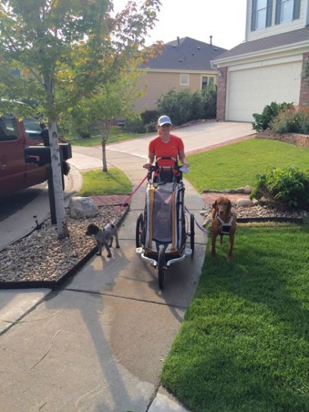 Lisa coming back from a walk with Jack, the puppy Nick, and Petra in the stroller.