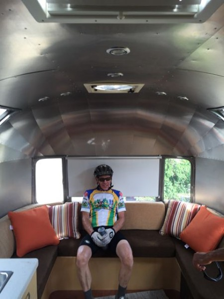 Kent sitting in Brad's Airstream. We stopped at the end of the ride to check it out. It is beautiful inside.