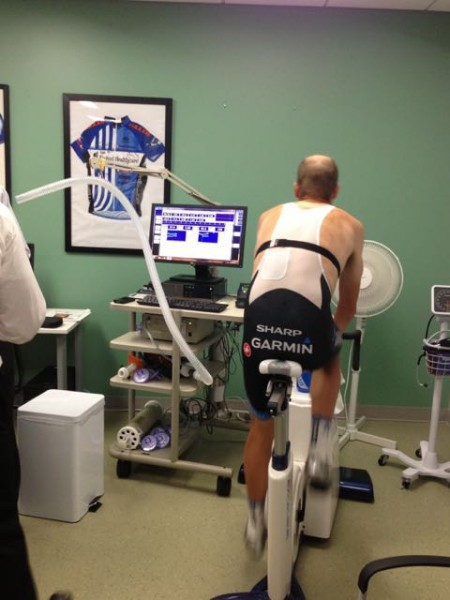 Here's Tom doing some physiological testing before the Tour in 2013.