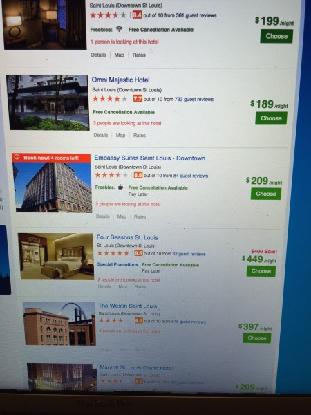 What is going on with hotel prices? I used to be able to get a 3.5 or 4 star room over Labor Day in St. Louis for less than $50. Seems like travel is staying expensive. I read that the average plane ticket this year is $497 roundtrip. Crazy when you add luggage fees, etc.