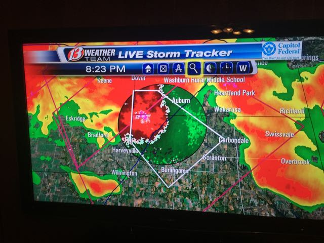 The radar was crazy red, plus the tornado sirens were going on and off for a while.