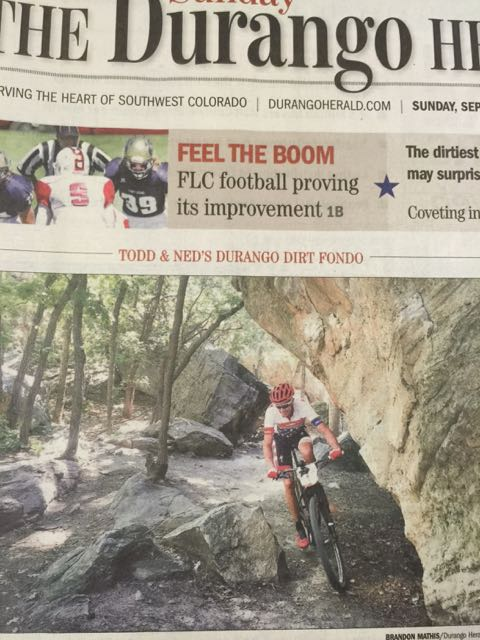 The front page of the Durango Herald this morning.  They really support the sport.