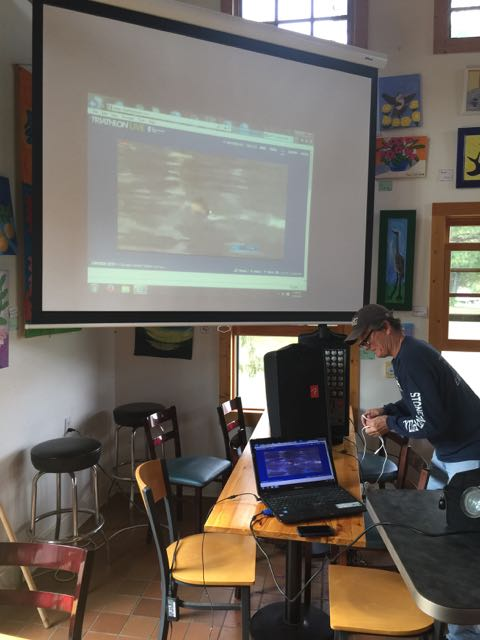 Mick set up a big screen for the ITU finals yesterday afternoon.  They moved the race up 4 hours becasue of potential storms.