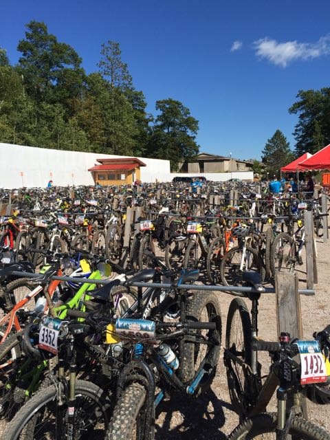 The bike corral at the finish.